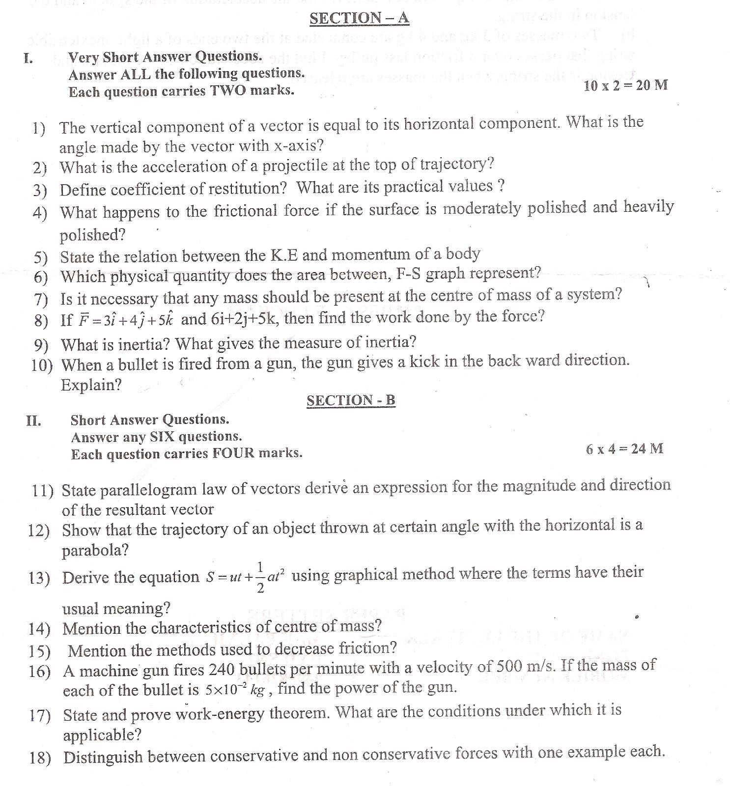 sanskrit question papers intermediate